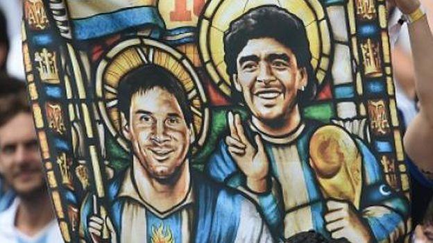 Dioses del Fútbol Messi y Maradona